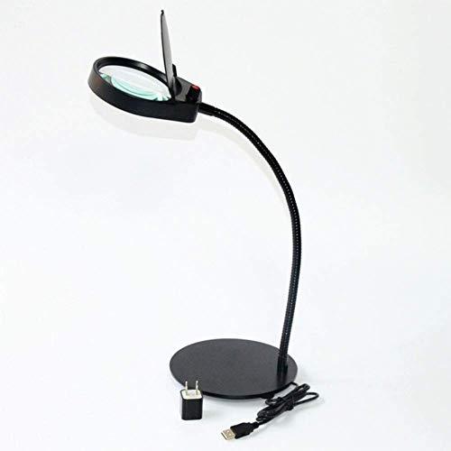 HD vergrootglas bureaulamp met 26 LED-licht 5X HD lens voor boeken, sieraden identificatie, klok, knutselen, grootte en reparatie, zwart, 100 * 100 mm