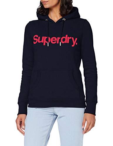 Superdry Cl Flock Hood Sudadera con Capucha, Marina Nautica, M (Talla del Fabricante:12) para Mujer