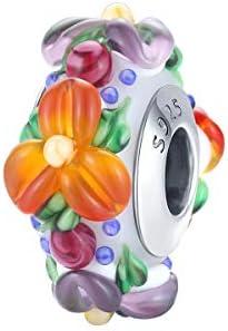 Abalorio de plata de ley 925 para pulseras Pandora, collares de flores coloridas de cristal de Murano, joyería para mujer