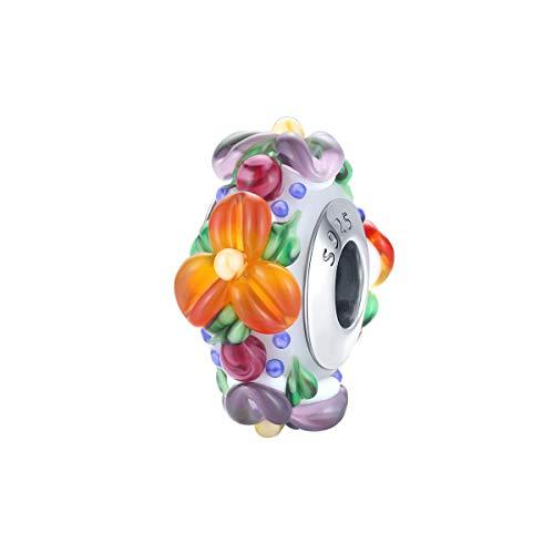 Abalorio de plata de ley 925 para pulseras Pandora, collares de flores...