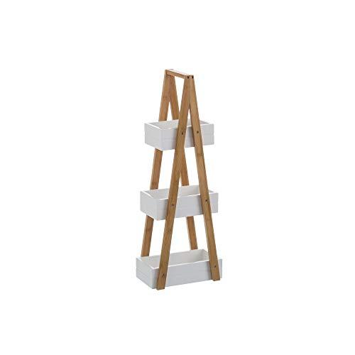 Estantería Blanca de bambú con 3 cestas nórdica para Cuar