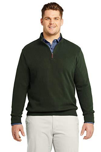 Lands' End Mens Bedford Rib Quarter Zip Sweater Evergreen Forest Regular Small