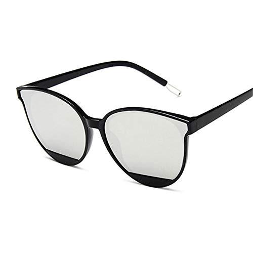 UKKD Gafas De Sol Mujeresgafas De Sol De Moda Mujeres Vintage Metal Mirror Clásico Vintage Gafas De Sol Mujer Uv400-Black Silver
