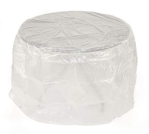 DEGAMO Schutzhülle für Gartentische und kleine Gartengarnituren bis 124cm Durchmesser, Material: PE transparent
