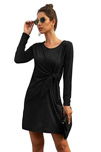 Women's Long Sleeve Dress Fall Winter Crew Neck Twist Front Loose Casual Midi Dress (Large, Black)