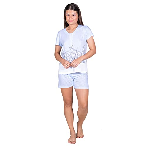 Egatex Pijama de Mujer de Verano Estampado Hojas 211428 - Azul, XXL