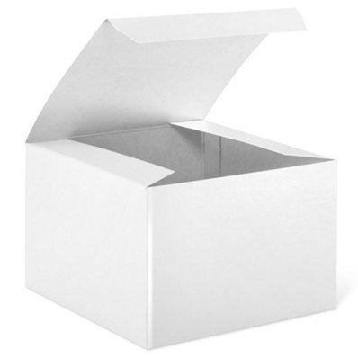 "CakeSupplyShop 10 Count Decorative Medium White Gloss Gift Wrap Box 5 X 5 X 3 1/2"""