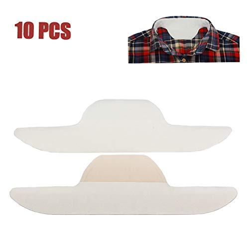Parkomm 10Pcs Coller Sweat Pads Auto-adhésif Collar Pads Neck Liner Pads pour Hommes Femmes été