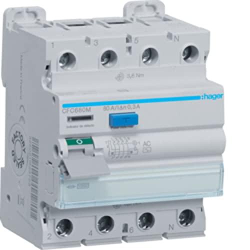 Interruptor diferencial tipo AC, 4P, 80A, 300mA, color blanco, 7 x 7,2 x 8,5 centímetros (referencia: Hager CFC680M)