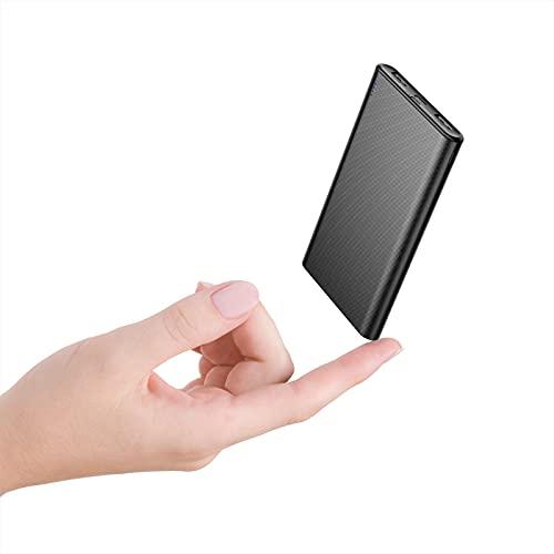 BABAKA Powerbank 10000mAh Ultradünner Externer Akku mit 2 USB Ausgänge, USB C und Micro Eingang Tragbares Ladegerät für Handy Samsung Huawei Tablet und Mehr - Schwarz