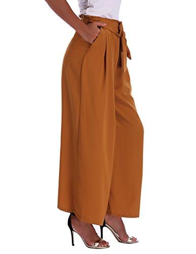 Abollria Damen Weite Hose Chiffon Paperbag Hose Casual Hosen Weite Bein Hohe Taille mit breiter Gummibund und Gürtel - 4