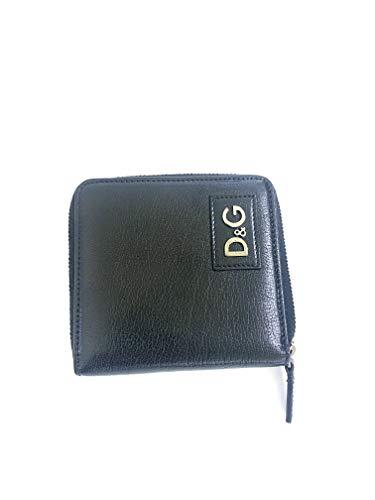 portafoglio d&g con cerniera pelle nero cm 11x 11cm