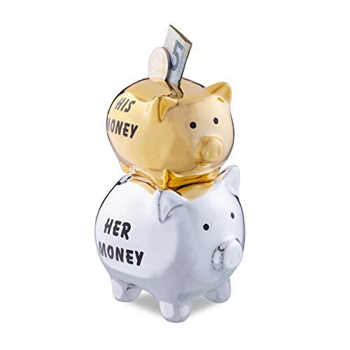 Relaxdays His & Her Money - Hucha con 2 cerditos para Parejas...