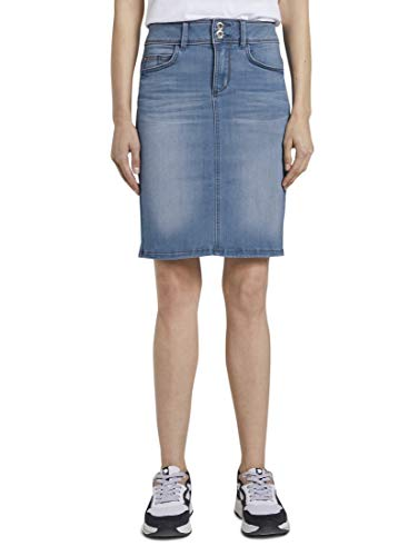 TOM TAILOR Damen Röcke Mini Jeansrock mid Stone wash Denim,38