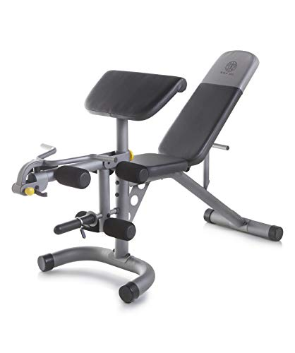 powerful Gold's Gym XRS 20 Olympic training bench with removable preacher cushions