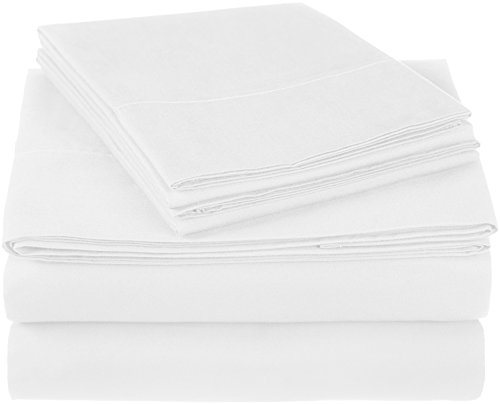 Pinzon 300 Thread Count Ultra Soft Cotton Bed Sheet Set, Twin XL, White