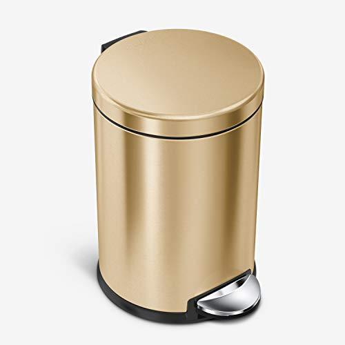 simplehuman 4.5 Liter / 1.2 Gallon, Round Bathroom Step Trash Can, Brass Stainless Steel