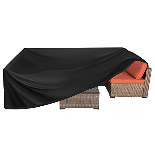 Kovshuiwe Garden Furniture Covers Waterproof,Patio Furniture Cover ,Rectangular Patio Table Cover- Upgraded 420D Heavy Duty Oxford Fabric Rattan Furniture Cover for Chair Sofa Outdoor(250x250x90cm)