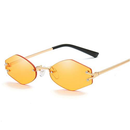 LUHUANONG Gafas de Sol Sin Marco Hexagonales Unisex Gafas de Sol de Montura Pequeña Gafas de Protección UV Retro (Color : E)
