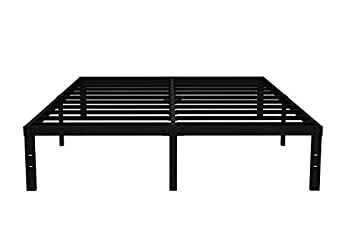 COMASACH 16 inch California King Bed Frame No Box Spring Needed 3500 lbs Heavy Duty Metal Platform Bed Frames Non-Slip and Noise-Free Mattress Foundation Black