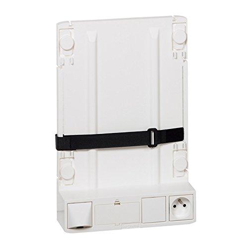 Legrand 413149 Support Box Opérateur ADSL et Fibre avec 1 Prise 2P+T et 4 Cordons de Liaison Box et Coffret
