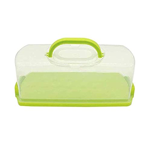 Portable Bread Box with Handle Transparent Lid Loaf Cake Storage Carrier for Pastries, Donuts, Bread Rolls, Buns or Baguettes (1Pc Green)