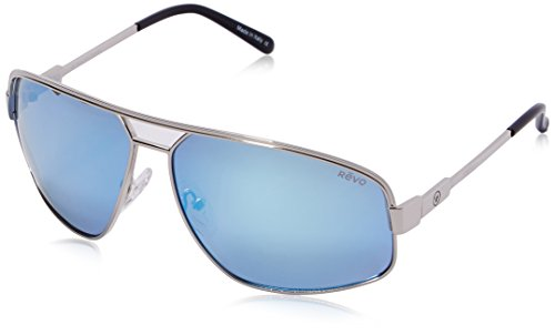 Revo Sunglasses Revo Bono Collection Stargazer Aviator Sunglasses, Chrome, Blue Water