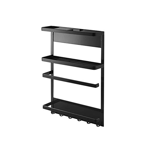 OMVOVSO Shelf Hanging Shelf of The Refrigerator, Hanging Shelf Refrigerator/Spice Shelf, Kitchen Multifunction Storage Container Organizer Regal Kitchen Rack Storage,Black