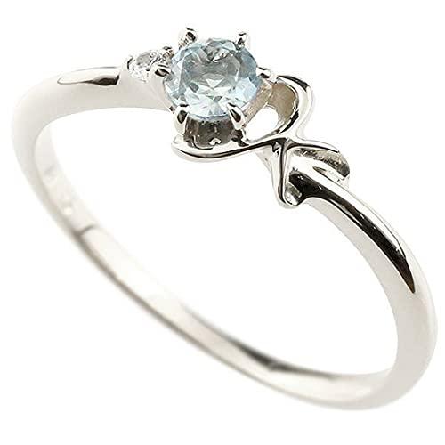 [アトラス]Atrus 指輪 レディース 10金 ホワイトゴールドk10 アクアマリン ダイヤモンド イニシャル ネーム K ピンキーリング 華奢 アルファベット 3月誕生石 22号