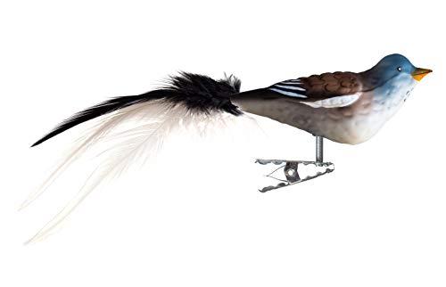 Thüringer Weihnacht 52-247 Glas-Vogel, Schneefink mit Naturfedern