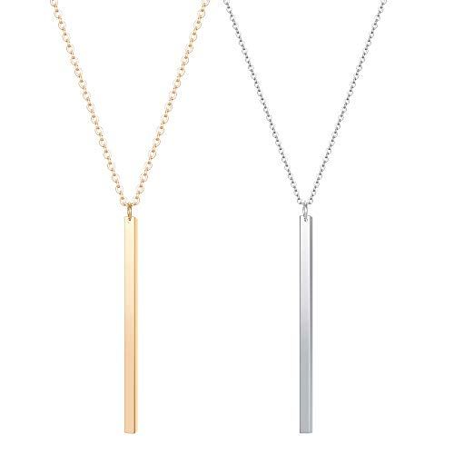 CULOVITY 2Pcs Simple Bar Pendant Necklace Long Lariat Chain Polished Jewelry for Women, 2.4' Pendant 35' Chain Goldtone Silvertone
