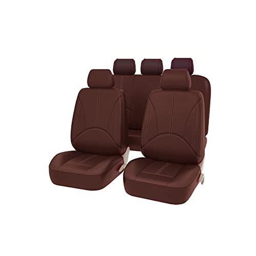 Juego de Fundas universales para Asientos Delanteros y Traseros con airbag, de Piel sintética, 9 Piezas, Multiple Colors (marrón)