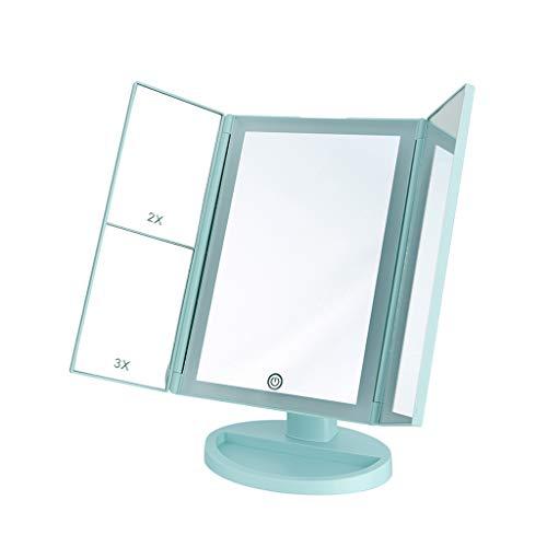 LICCC Espejo de Belleza LED for Escritorio, Lente de Relleno, Espejo Plegable, 18 * 28 cm (Color : Blue)