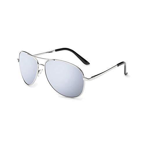Dama Masculina Gafas De Sol Polarizadas Espejo De Rana Gafas De Sol Zhenzhiyangshangmao (Size : Silver Frame White Water Silver)
