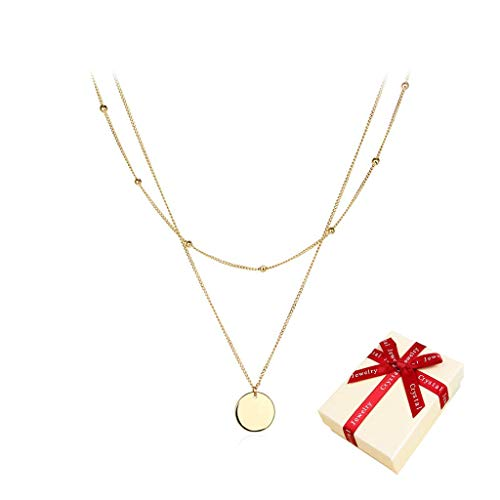 SNOWZAN Women's Layered Chain Gold with Round Plate Pendant Circle Pendant Multi-Row Necklace Women's Layered Double Row Chain Multilayer Titanium Necklace Long 50 cm