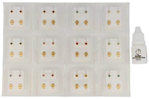 24 Ohrstecker (12 Paar) Erstohrstecker Chirurgenstahl vergoldet mit 12 Farben inklusive Ohrlochkosmetikum Studex After Piercing Lotion 7ml