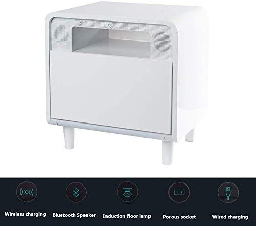 HLJ Nachttisch Schrank Wireless/Wired Lade Bluetooth-Stereo-Auto-Sensing Bodeneinbauleuchte Multi-Loch-Buchse mit leistungsstarken Funktionen mit Einer Schublade und Open Storage Raum, Right