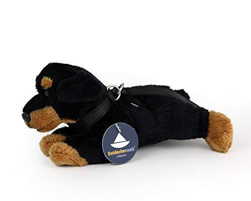 Entdeckerwelt Rottweiler liegend mit Leine und Halsband (L. ca. 20 cm)