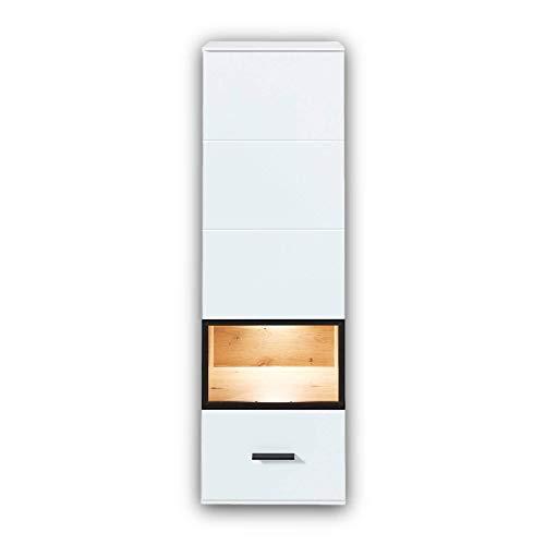Stella Trading MEDIANA witryna wisząca o wyglądzie dębu Artisan, biała matowa - nowoczesna witryna szklana z oświetleniem LED - 40 x 125 x 36 cm (szer./wys./głęb.)