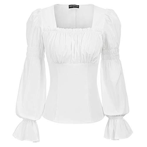 Blusa Top para Mujer Steampunk Renacimiento Blusa Top Medieval gótico Lolita Bohemia Manga Larga Cuello Cuadrado Retro Vintage Talla XL Blanco