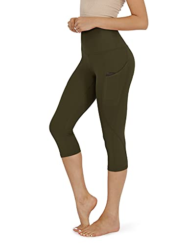 ODODOS Women's High Waisted Yoga Capris with Pocket, Workout Sports Running Athletic Capris with Pocket, Plus Size, Olive,XX-Large
