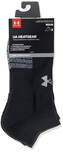 Under Armour Unisex Ua Heatgear Ns atmungsaktive Füßlinge im 3er-Pack, Sportsocken mit dynamischem Halt und Flexibilität, Black / Black / Steel, L
