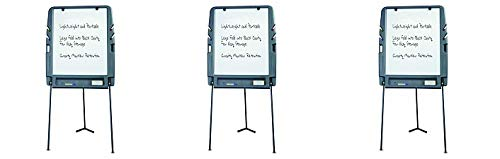 """Iceberg ICE30227 Portable Flipchart Easel with Dry Erase Whiteboard Surface, Blow-Molded Plastic Frame, 35"""" Length x 30"""" Width x 73"""" Height, Charcoal (3-(Pack))"""