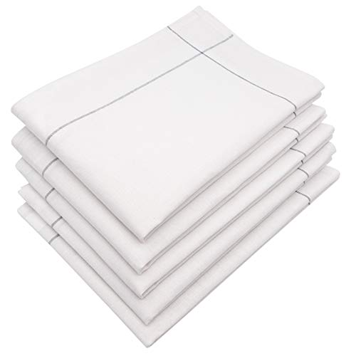 ZOLLNER 5er Set Geschirrtücher Baumwolle/Leinen weiß-grau, Größe ca. 45x65 cm