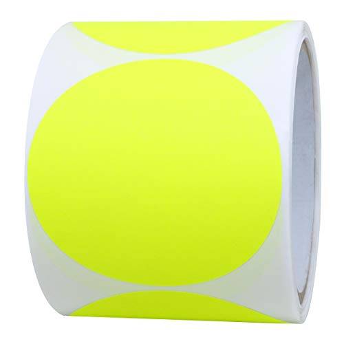 Hybsk Fluorescent Yellow Labels 3 inch Round Color Coding Dots Stickers 200 Labels Per Roll (Fluorescent Yellow)