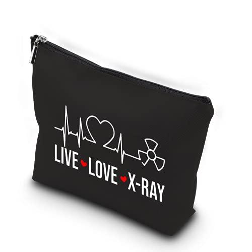 WCGXKO X-ray Tech Gift Live Love X-Ray Zipper Pouch Makeup Bag Radiology Tech Graduation Gift (Live Love X-Ray)