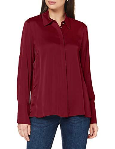 ESPRIT Collection Damen 080EO1F304 Bluse, 600/BORDEAUX RED, 34