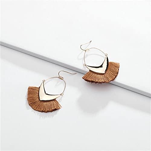 Shability Accesorios de Moda Joyas con Flecos de Tassel Pendientes Pendientes de Gota de Metal para Mujeres yangain (Color : Ivory)