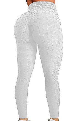 C/N Leggings Mujer, Legging Deportivo Cintura Alta Pantalones Yoga Mallas para Running Training Fitness RC-01(White,XL)
