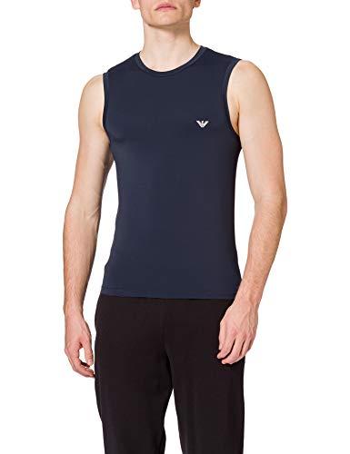 Emporio Armani Underwear Tank Mesh Microfiber T-Shirt, Blu Marino, L Uomo